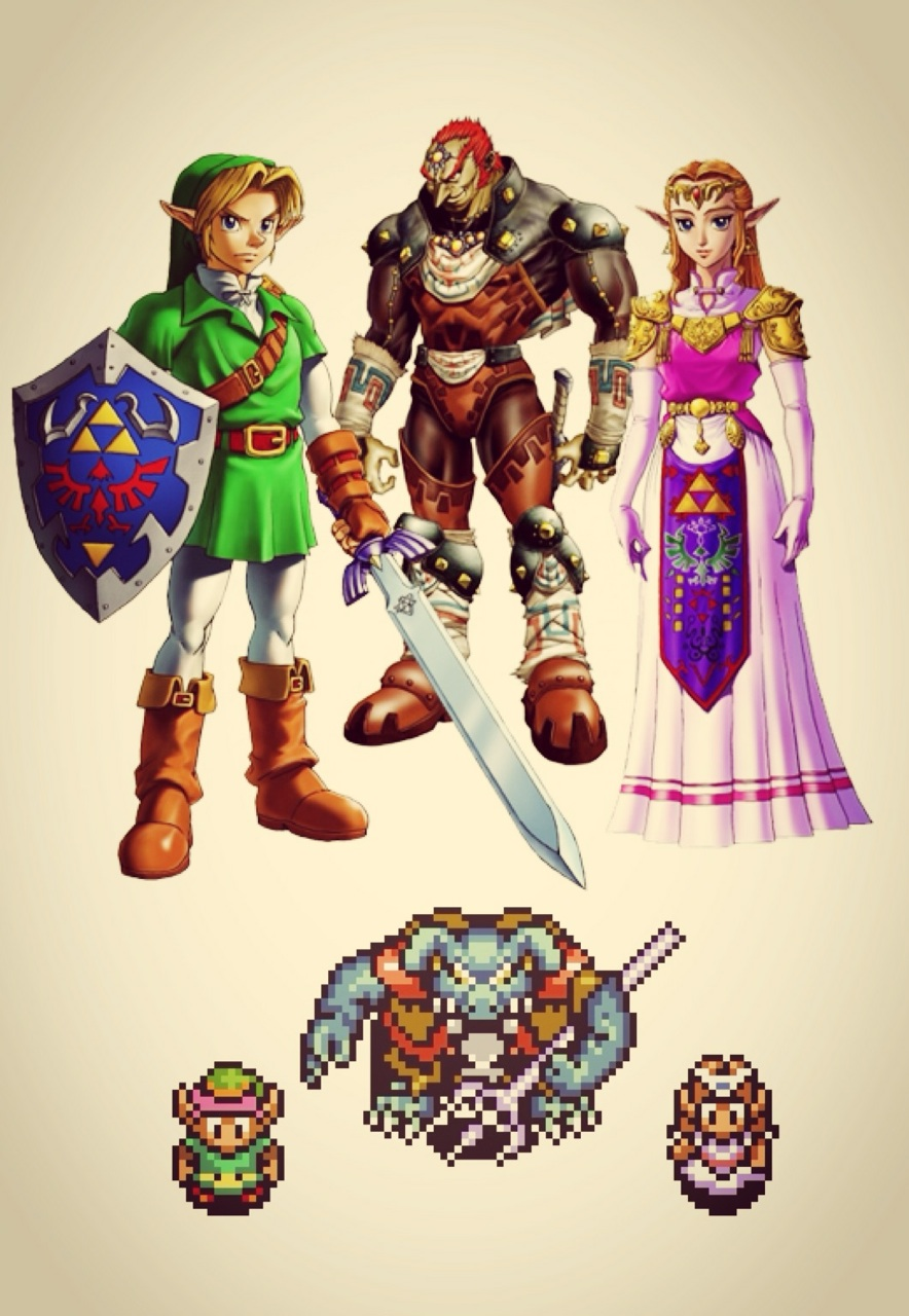 link, ganon, and zelda character iterations